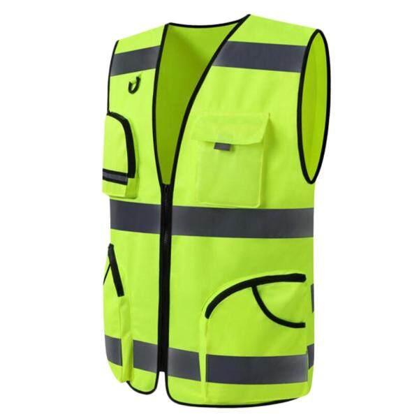 MagiDeal Reflective Vest Safety Sleeveless Waistcoat with Zipper Yellow B