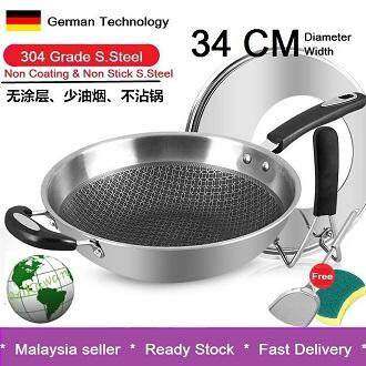 304 Stainless Steel Honey Comb Heath Wok Non Stick Cooking Pan