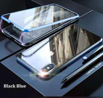 สำหรับ iPhone X/XS MAX 360 Magnetico กระจกนิรภัยเทมเปอร์โปร่งแสงกรอบกันกระแทกบัมเปอร์โลหะ-