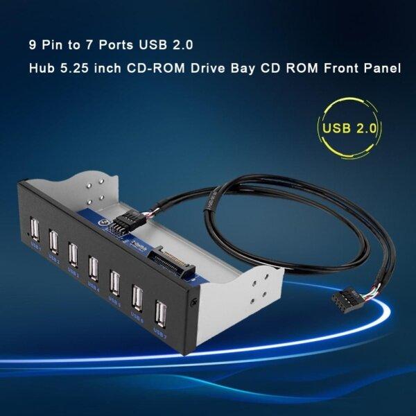 Bảng giá 9 Pin Đến 7 Cổng USB 2.0 Hub 5.25 Inch CD-ROM Khoang Ổ Đĩa CD ROM Mặt Trước Cho Vỏ Máy Tính Bảng Điều Khiển Phía Trước CD ROM Phong Vũ
