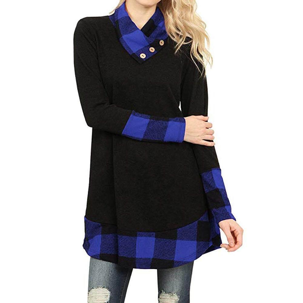 8208b143ae85c IDASIC Womens Tops Casual Cowl Neck Plaid Long Sleeve Tunic Shirts Blouse  Top