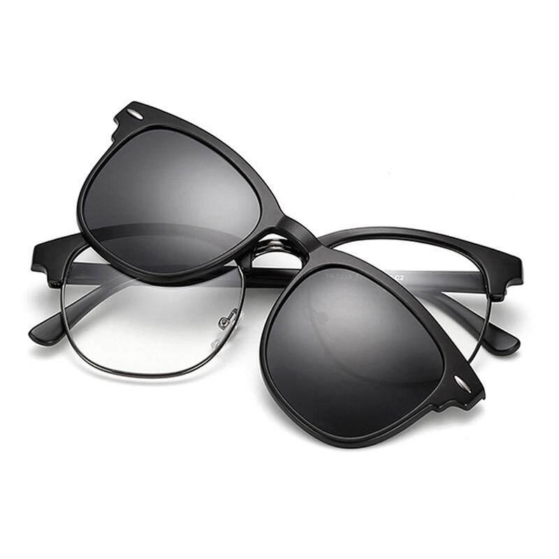 samjune Clip on Sunglasses clip on glasses half frame Men Women mirror clip Sun Glasses Night Vision Driving sunglasses for men
