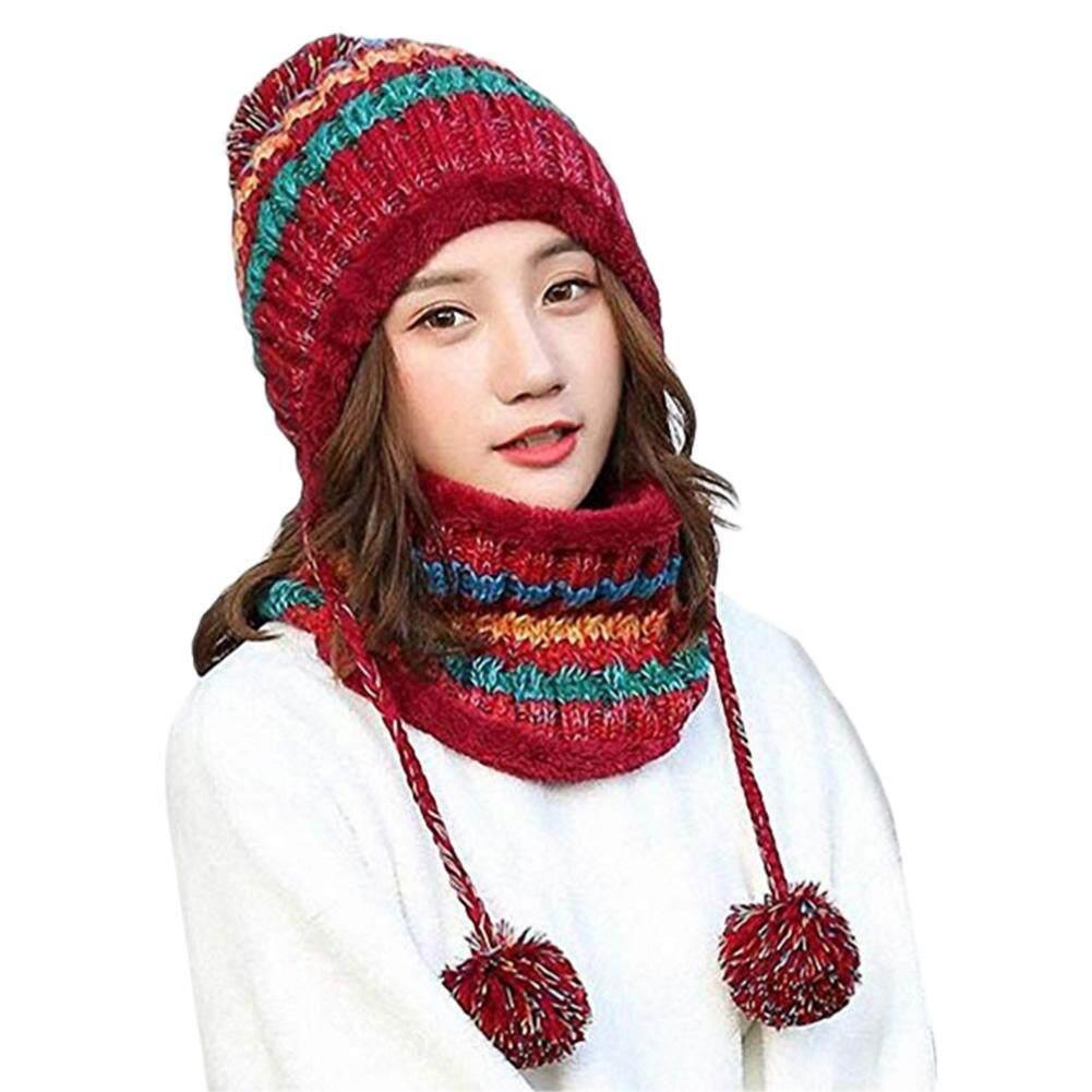 Winter Womens Hat Bib Set Knitted Warm Beanies With Three Pompom Ball Female Balaclava Multi Functional Hat Scarf Set By Sawu.