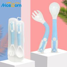 NiceBorn Bộ Đũa Muỗng Nĩa Kèm Hộp Hình Chú Mèo Cho Bé giúp bé ăn ngon từ 2 tuổi chính hãng kiểm định an toàn Silicone Fork Spoon Set 360°Flexible Soft Spoons