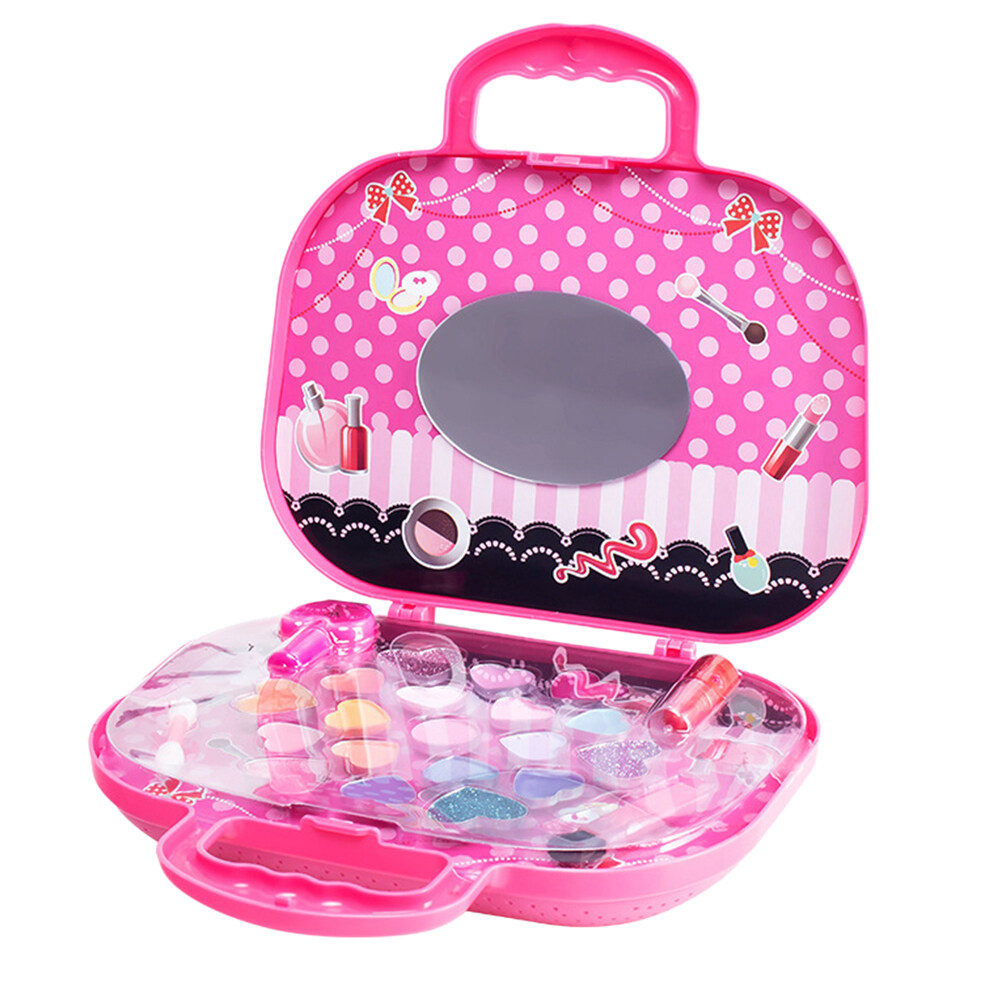 1 Set Children Cosmetics Toys Washable Creative Makeup Palette Make Up Bag Cosmetics Kit For Kids Girls.