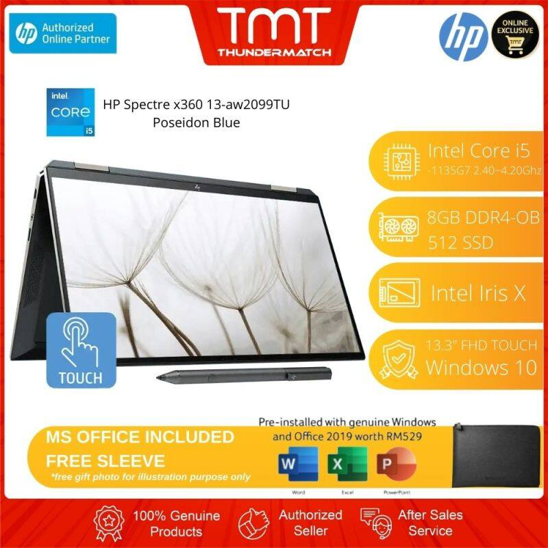 HP Spectre x360 13-aw2099TU (2J9Z8PA) Laptop | i5-1135G7 | 8GB-OB 512GB SSD | 13.3 FHD Touch | W10 | MS OFFCE + SLEEVE Malaysia