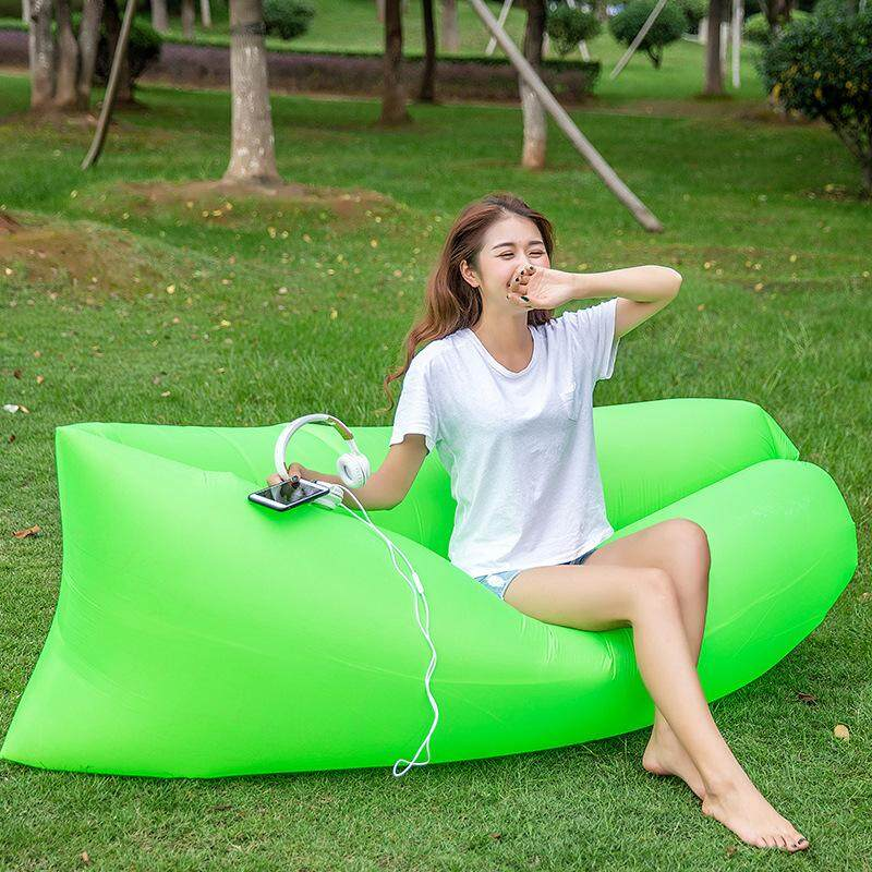 1PC Ourdoor Portable Air Sofa Bag Casual Fast Inflatable Bed Lazy Beach Sofa Bed Camping Ourdoor Furniture Seating Inflatable Lounger Couch Blow Up Lounge Chair