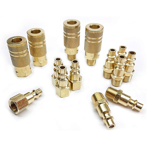 Coupler and Plug Kit, Industrial Type D, 1/4 In. NPT, Solid Brass Quick Connect Air Fittings Set (14 Piece)