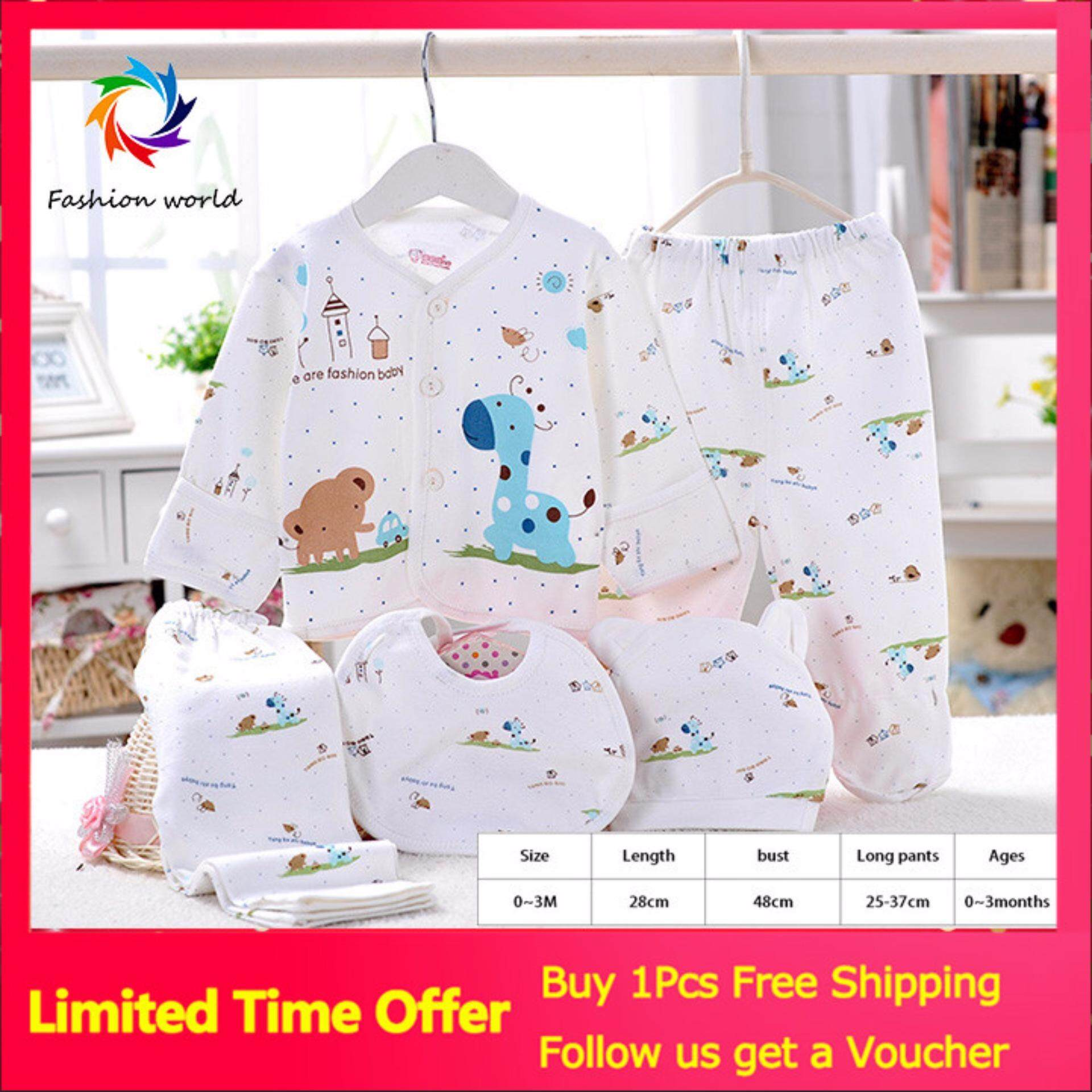【global+express+delivery+free+shipping】[five-Piece]cotton Baby Underwear / Newborn Clothing Five-Piece (my) By Fashion World.