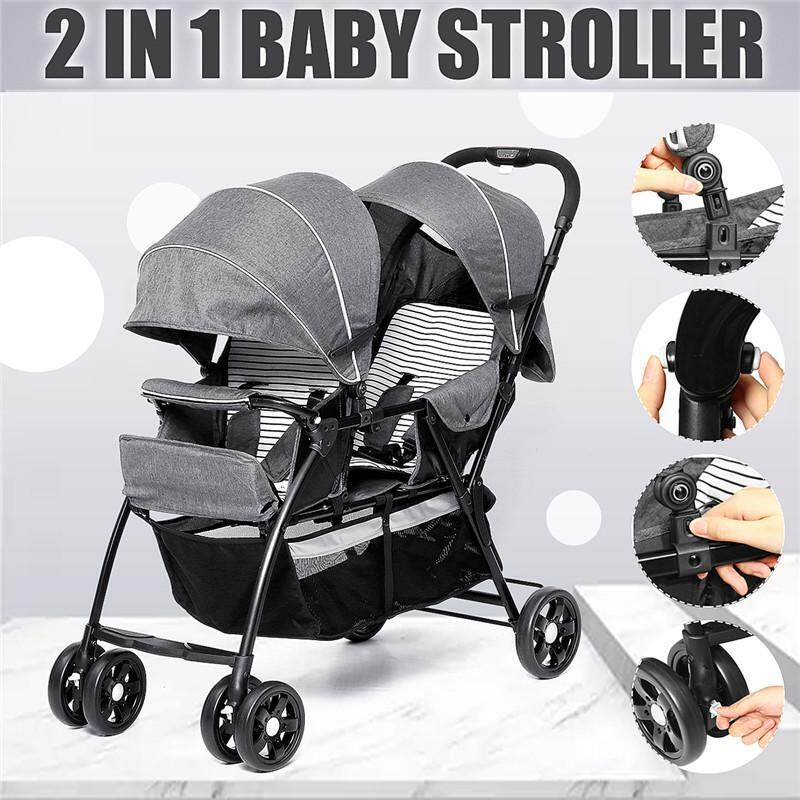 【September New Arrival】(GREY-2 in 1) Comfortable Double Seat Twin Baby Child Front And Back Tandem Compact Stroller-With large storage basket, sun canopy and foldable back seat - grey Singapore
