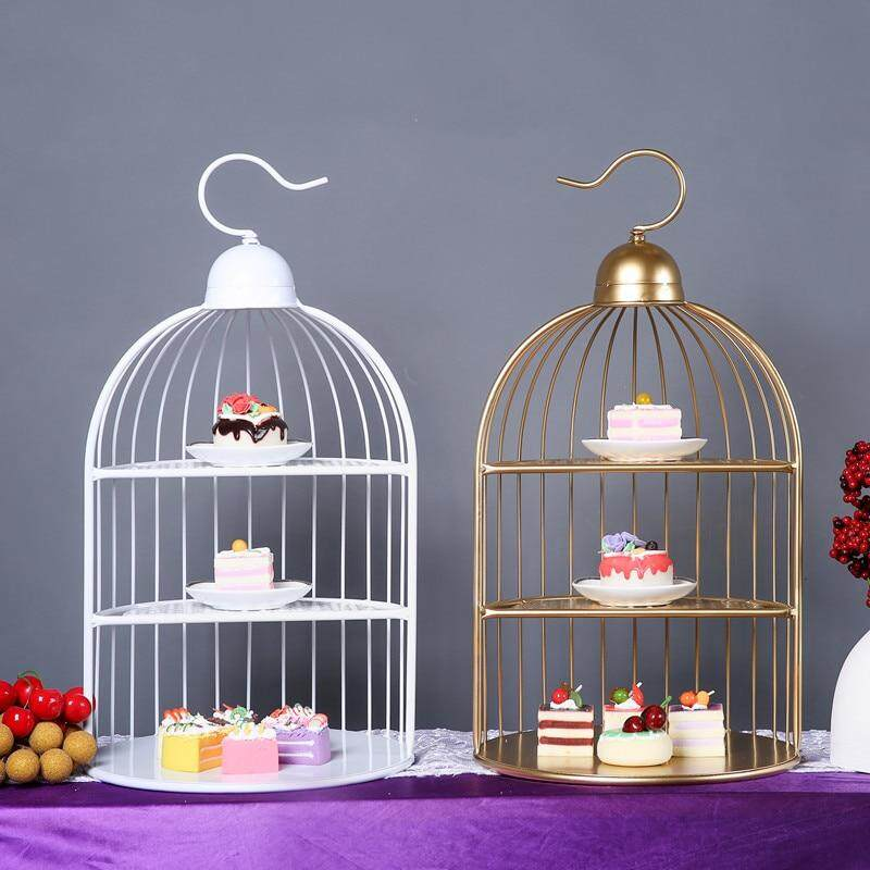 ❤️ Dream Best Iron Bird Cage Snack Stand Snack Afternoon Tea Three-layer Snack Plate