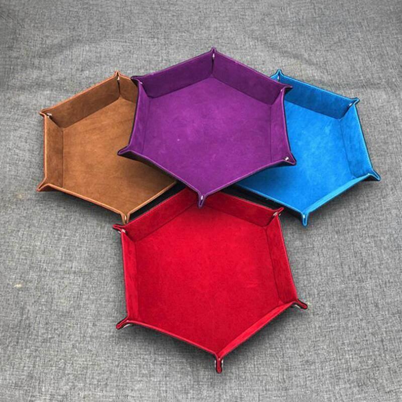 Lipat Hexagon Tahan Aus Tahan Air Kotak Penyimpanan Tempat Baki Untuk Polyhedron Logam Dadu Permainan Permainan Papan Pu Kulit Lipat Segi Enam Baki Dadu Perhiasan Koin Kotak Penyimpanan Kunci By Gotobest.