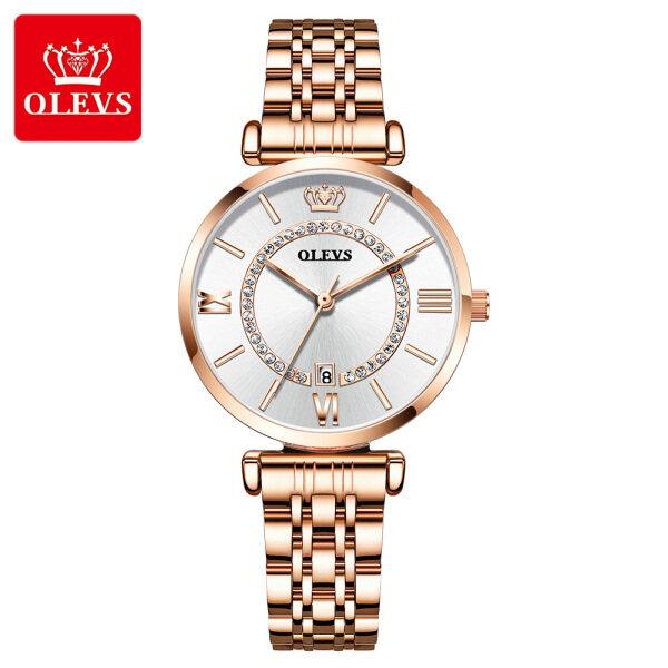 OLEVS Watch for womens Original stainless steel Wrist waterproof Calendar display Casual student watch fashion elegant Malaysia