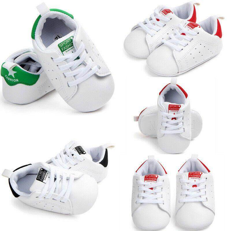 Toddler Newborn Baby Boys Girls Soft Sole Shoes Leather Sneakers Pram Trainers