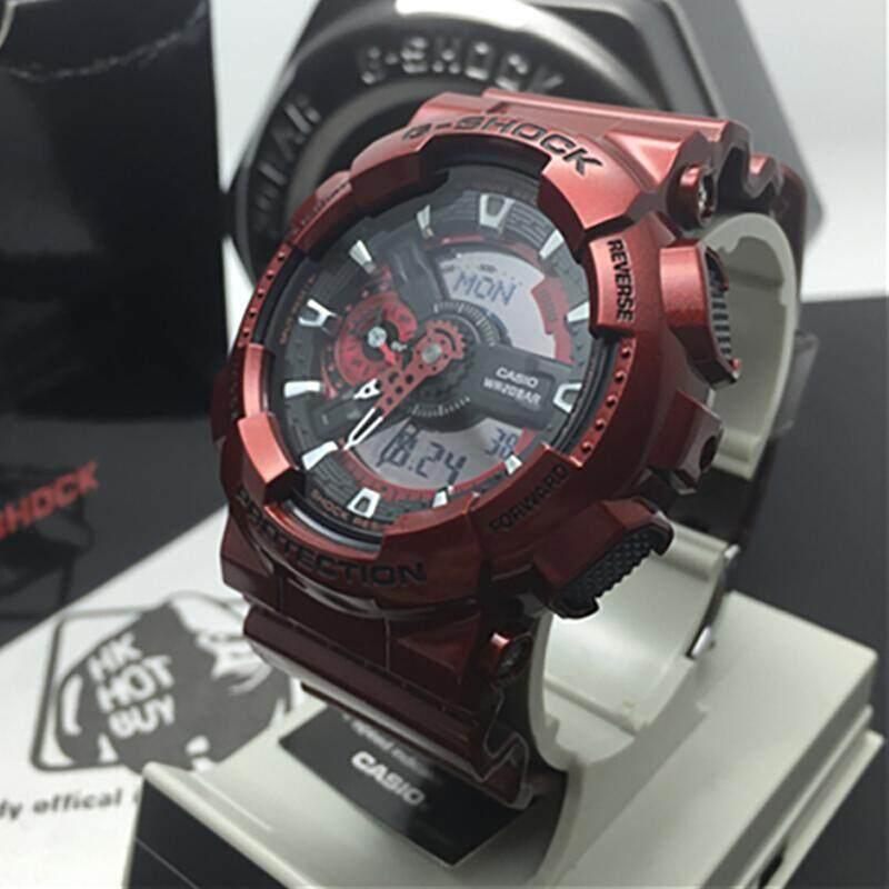 ยี่ห้อไหนดี  ตราด 【 STOCK】Original _ Casio_G-Shock Daul แสดงเวลา 200M กันน้ำโลกเวลานาฬิกากีฬาไฟแอลอีดีอัตโนมัติสำหรับชาย GA-110NM-4A สีแดง