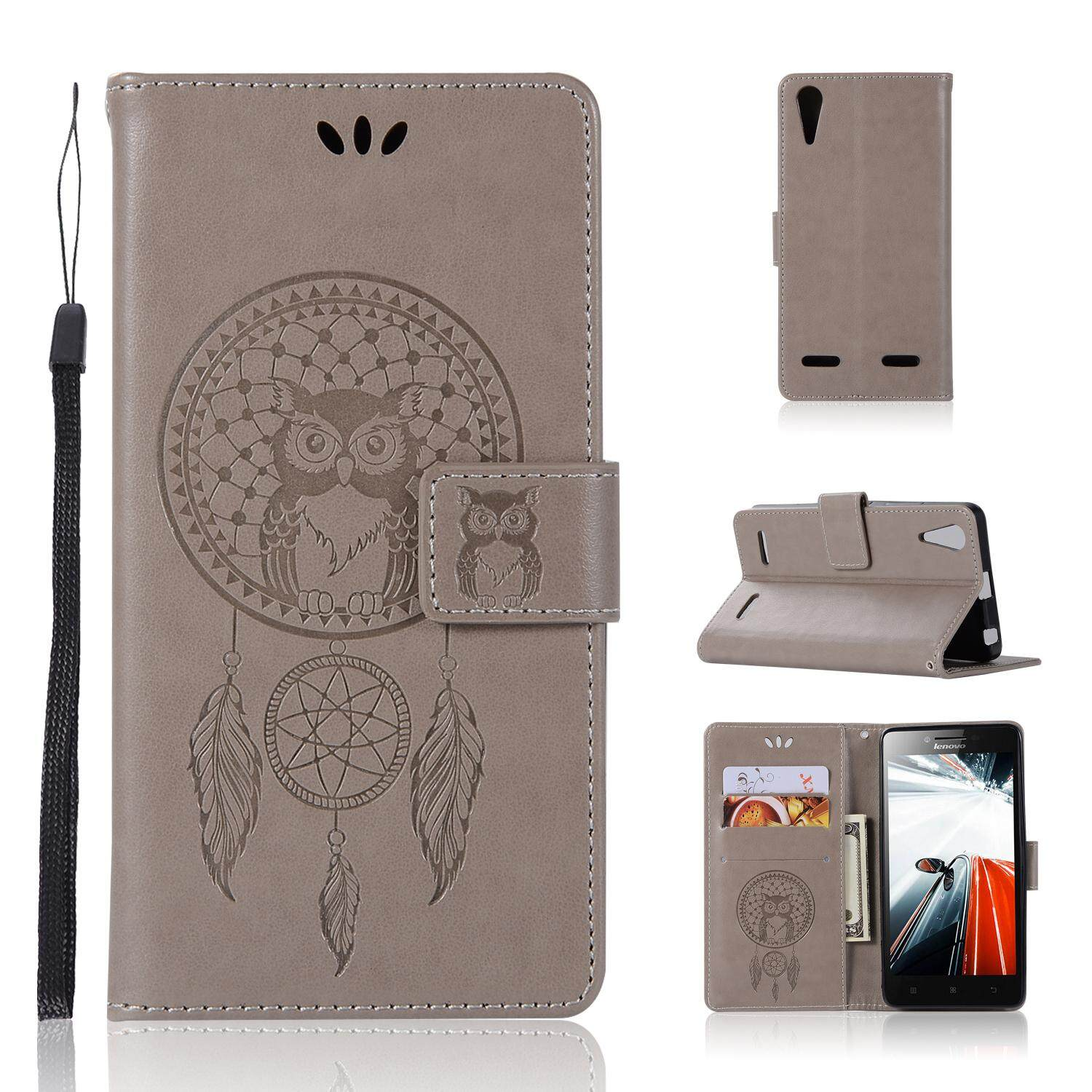 Luxury For Lenovo K3 / A6000 Casing , 3d Owl Embossing Leather Folio Flip Case Cover By Life Goes On