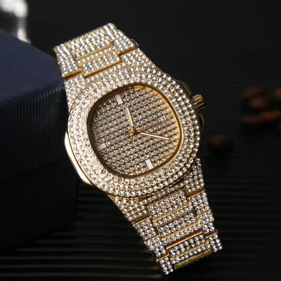 Mens Watches Fashion Diamond Automatic Date Quartz Watch Men Gold Stainless Steel Hip Hop Mens Watches Top Brand Luxury clock Malaysia