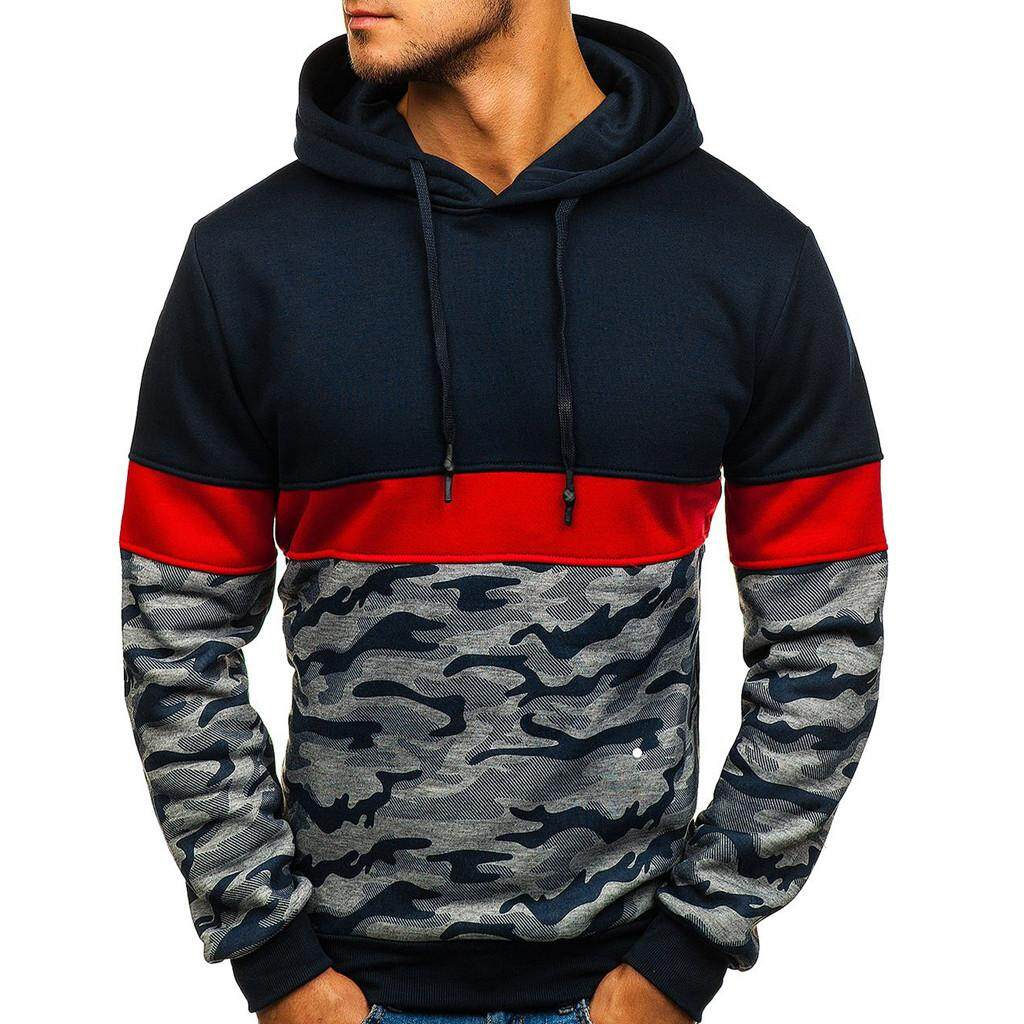 7a64c04999ad Aynshop Men Camouflage Button Pullover Long Sleeve Hooded Sweatshirt Tops  Blouse