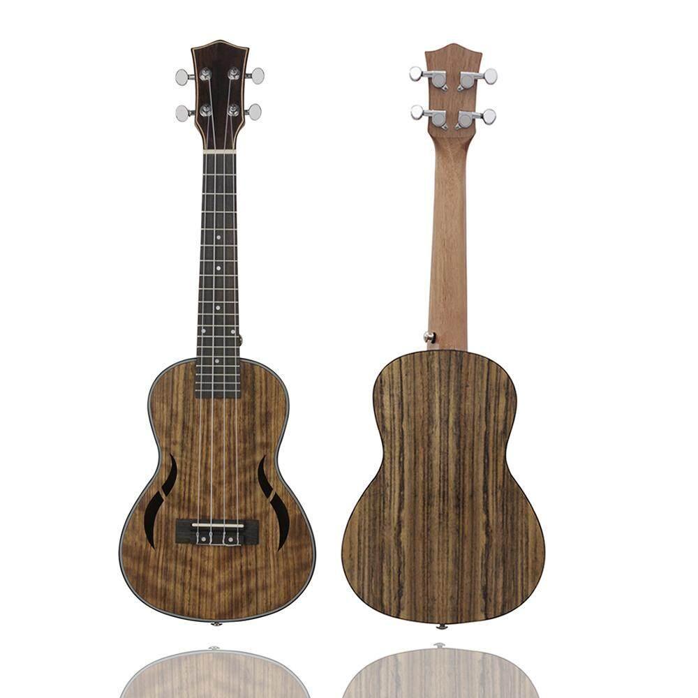 24 Inch Acoustic Concert Ukulele Ukelele Uke Walnut Wood Nylon Strings Close Type Tuning Pegs with Carry Bag Capo Cleaning Cloth Strings
