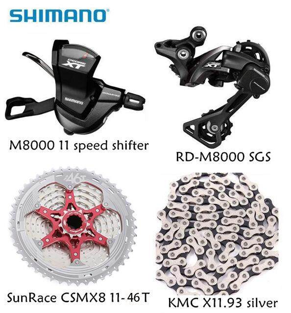 Shimano Xt M8000 4pcs Bike Bicycle Mtb 11 Speed Kit Groupset Rd-M8000 Shifter With Sunrace Cassette K7 Kmc Chain 11-46t 11-50t By Bicycle Accessories Store.