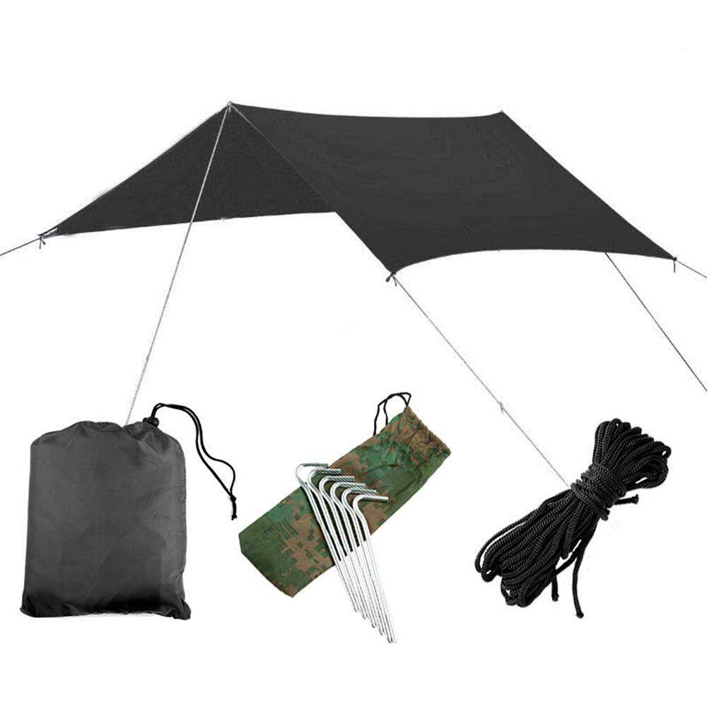 Outflety 10*10 Ft Lightweight Hammock Shelter, Waterproof Rain Fly Tent Tarp Ripstop Picnic Mat Nylon Tent Set Included Aluminum Nail And Wind Rope By Outflety.