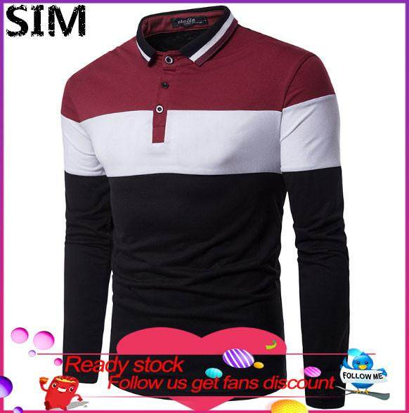 05b84424 SIM Fashion Men's Casual Patchwork Slim Long Sleeve T Shirt Muscle Top  Blouse Poloshirt