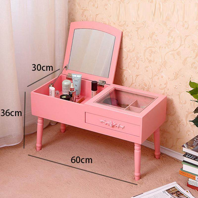 Vanity Table Set with Foldable Mirror, 1 Drawer, 4 Organizers Makeup Dressing Table, Easy Assembly, Gift for Mom