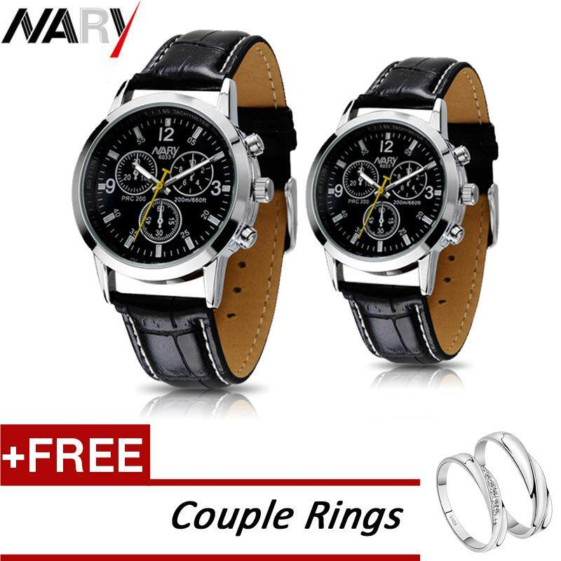 [Buy 1 Take 1] 2Pcs/Set 6033 Nary Fashion Causal Couples Lover Watch Waterproof Luminous PU Leather Strap Luxury Wristwatch Original Quartz Brand Watches For Men Women + Free Couple Rings Malaysia