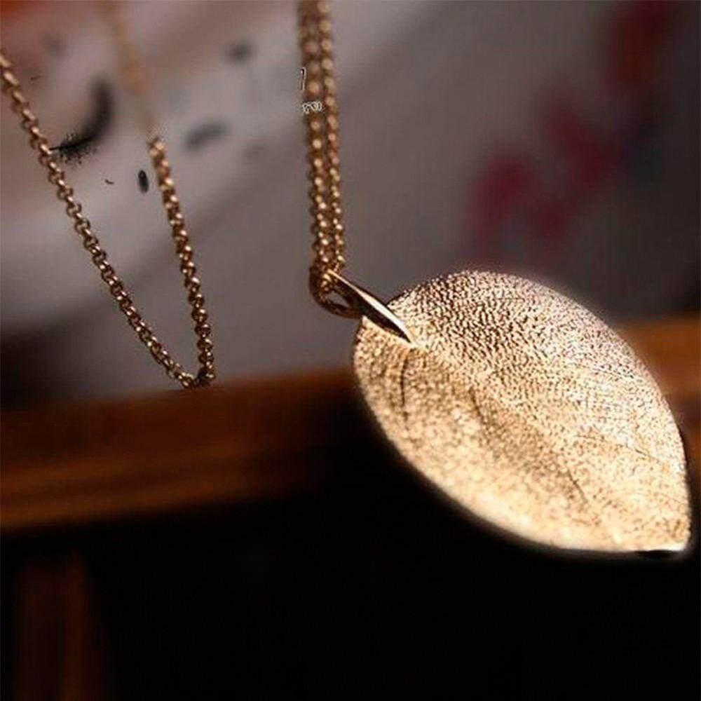 1 * dengan Harga Murah Pop Emas Gemuk Cincin Gold En Panjang Desain Daun Liontin Sweater Rantai Perhiasan Kalung