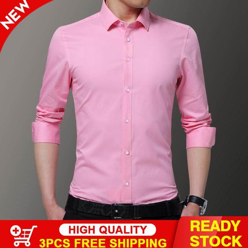 c7e2796bd Victory New Men Solid color Long sleeve shirt Fashion Youth Korean Slim  Non-ironing Dress