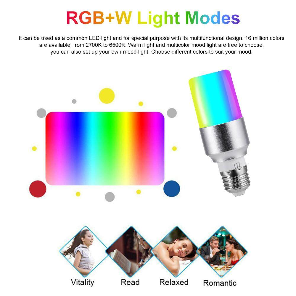 V15 Smart WIFI L-ED Bulb RGB+W LE-D Bulb 6W E26 Dimmable Light Phone Remote Control Group Control Compatible with Alexa Goo-gle Home Tmall Genie Voice Control Light Bulb