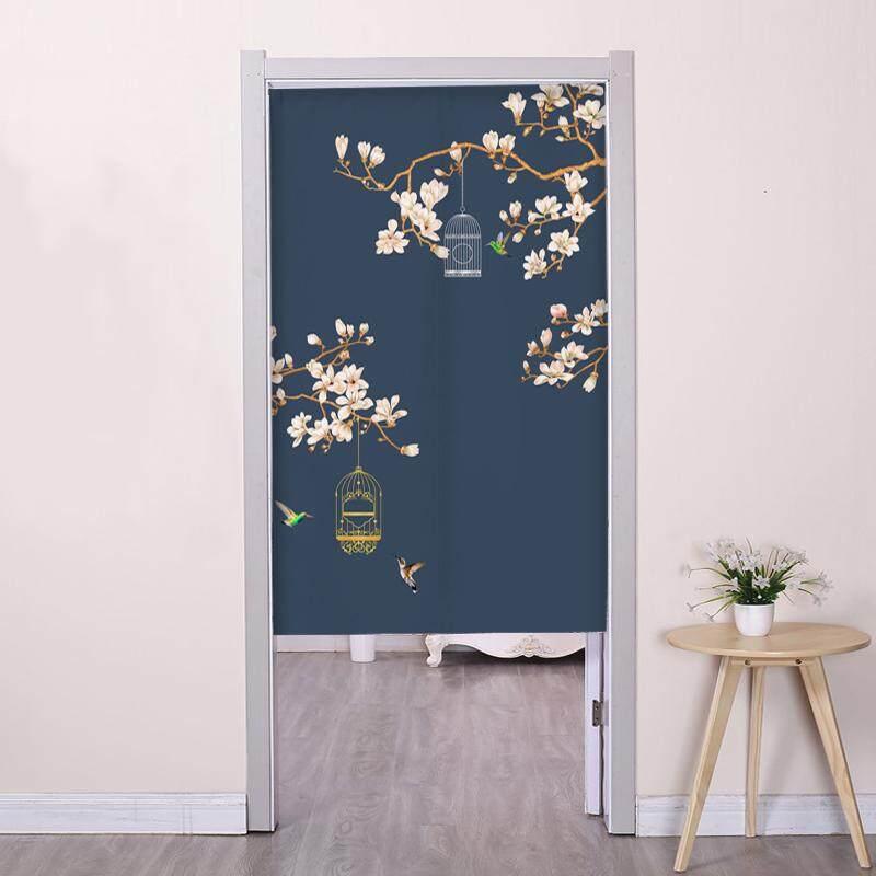 Chinese style flowers  birds Bedroom living room decorative partition long Door curtain fabric bedroom Print cute Door curtain kitchen short Door curtain with rod