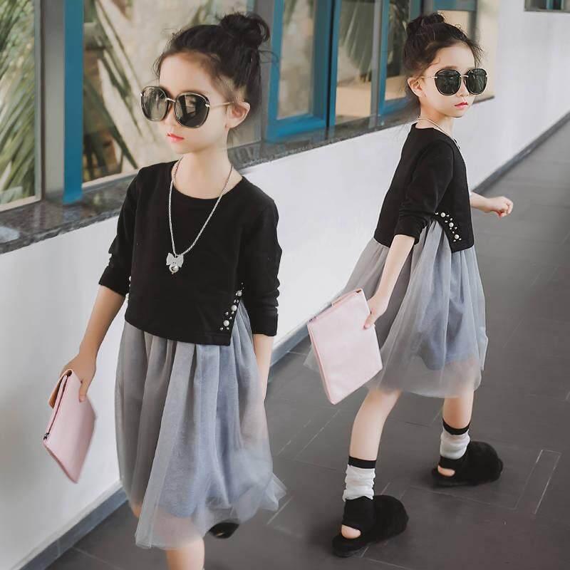 Giá bán ICHOIX quần áo Trẻ Em bé gái Mùa Xuân 2019 & Thu Mới Đàn Organ Bông váy Lưới tay Dài ngọc trai 2 áo