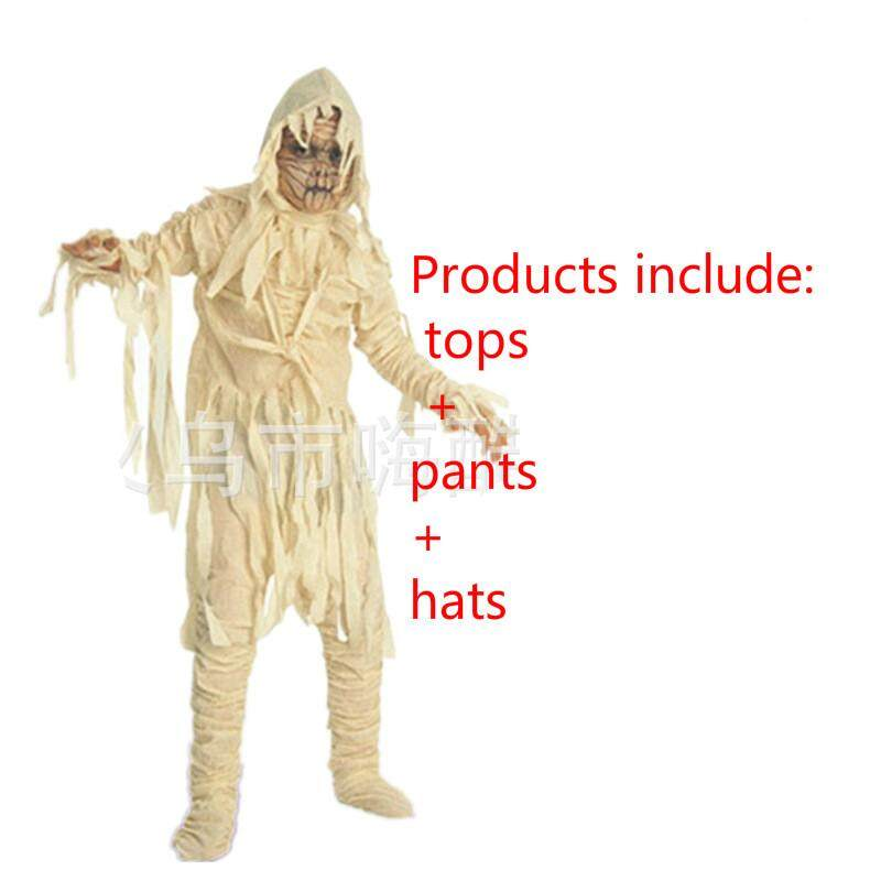 Kids scary mummy costume boy halloween horror zombie corpse imitation suit fear monster role playing party clothes