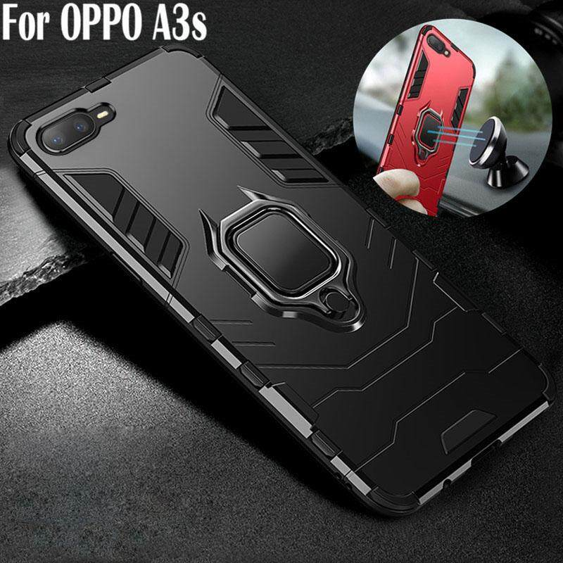 Untuk OPPO A3S Casing Ponsel Tahan Guncangan Braket Mobil Dudukan Cincin Hybrid 2 In1 Case Plastik Keras + TPU Silikon Lembut Kasar Casing Kover