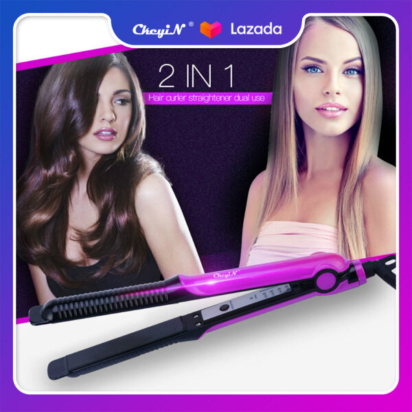 Buy Ckeyin 2 in 1 Hair Straightener and  Hair Curler Temperature Adjustable Flat Iron Wet Dry Dual Use Hair Iron Magic Hair Styling Tools Hair Iron HS248 Singapore