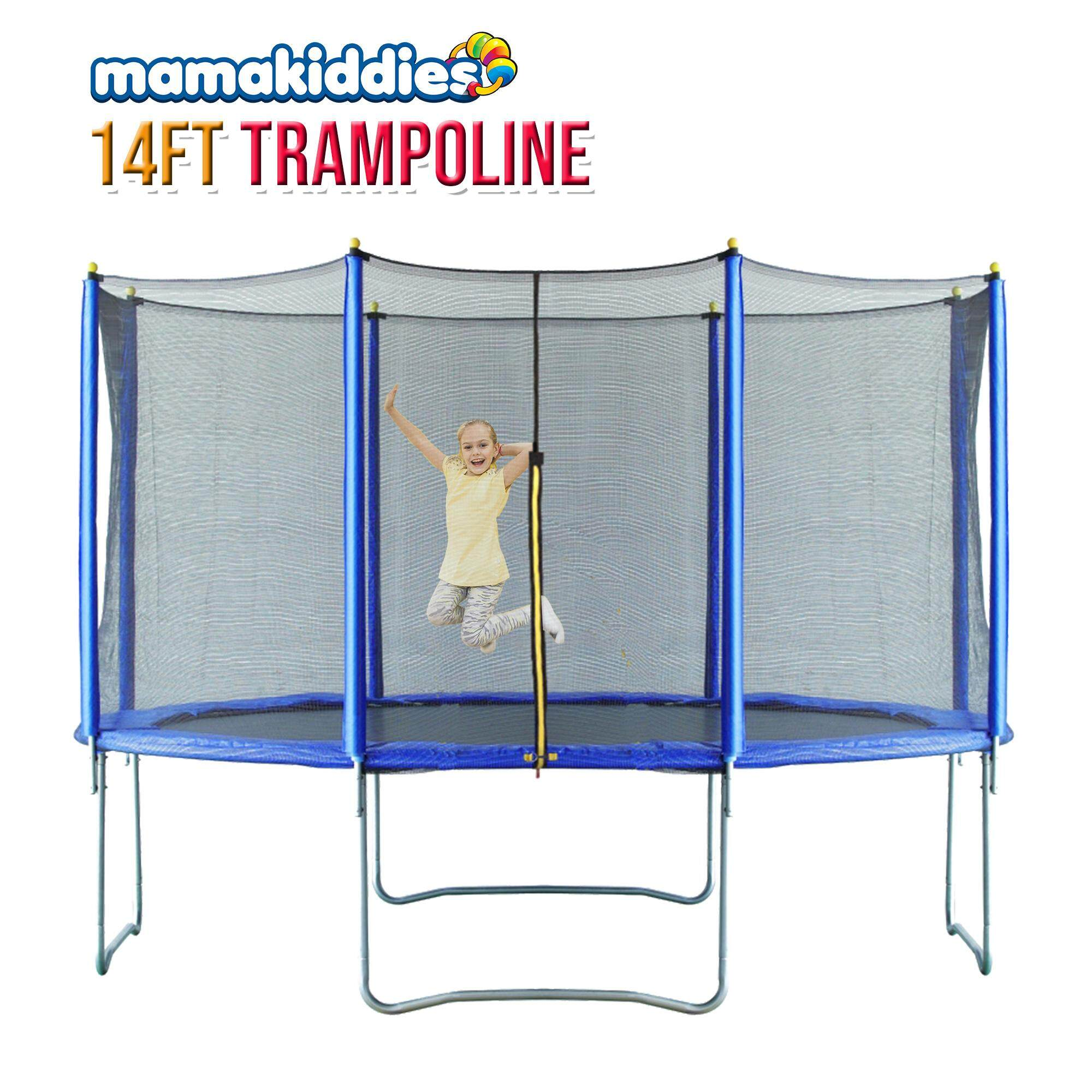 14ft Kids Adult Jumper Trampoline And Enclosure With Ladder Set Blue By Mamakiddies.
