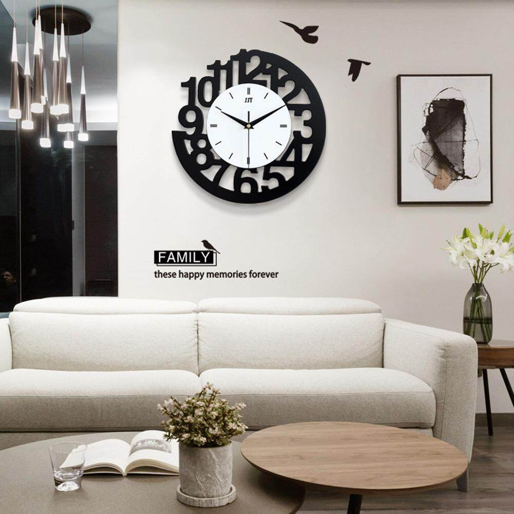 Ymingqi Simple Wooden 3D Digital Number Wall Clock Mute Clock with Sticker Home Bedroom Decor