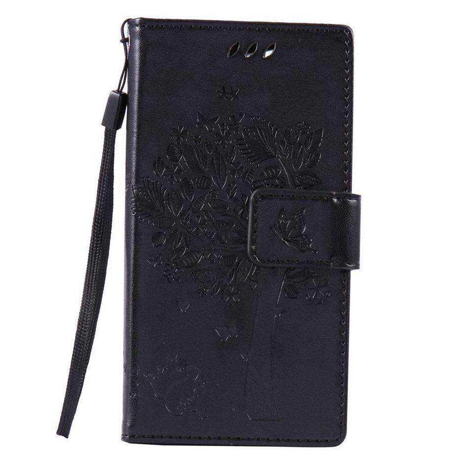 Cao Cấp Mèo Đen Cây Da Lật Ví Đứng Bao Da Ốp Lưng Cho Sony Xperia
