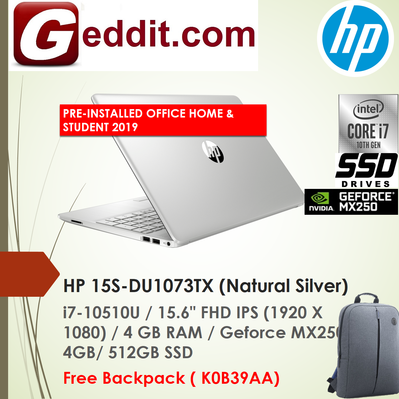 HP 15S-DU1073TX LAPTOP SILVER (I7-10510U,4GB,512GB SSD,15.6 FHD,GEFORCE MX250 4GB,WIN10) FREE BACKPACK + PRE-INSTALLED OFFICE H&S 2019 (SEE i5 15S-DU1057TX 15S-DU1058TX) Malaysia