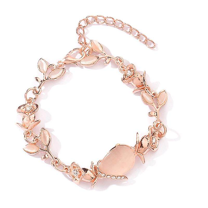 Candy Rose Gold Women Fashion Temperament Opal Leaves Bracelet By Mycsndice.