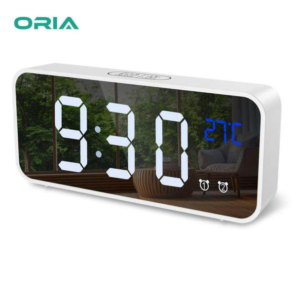 ORIA Digital Alarm Clock 12/24H Format Mirror LED Music Digital Clock Voice Control Dual Alarm with Snooze USB Charging Port for Bedroom Bedside Office  Students Kids Elderly