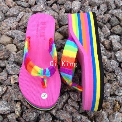 Qi King Thick Bottom Wedges Flip-Flops Non-Slip Beach Slippers Womens Slippers By Qi King.