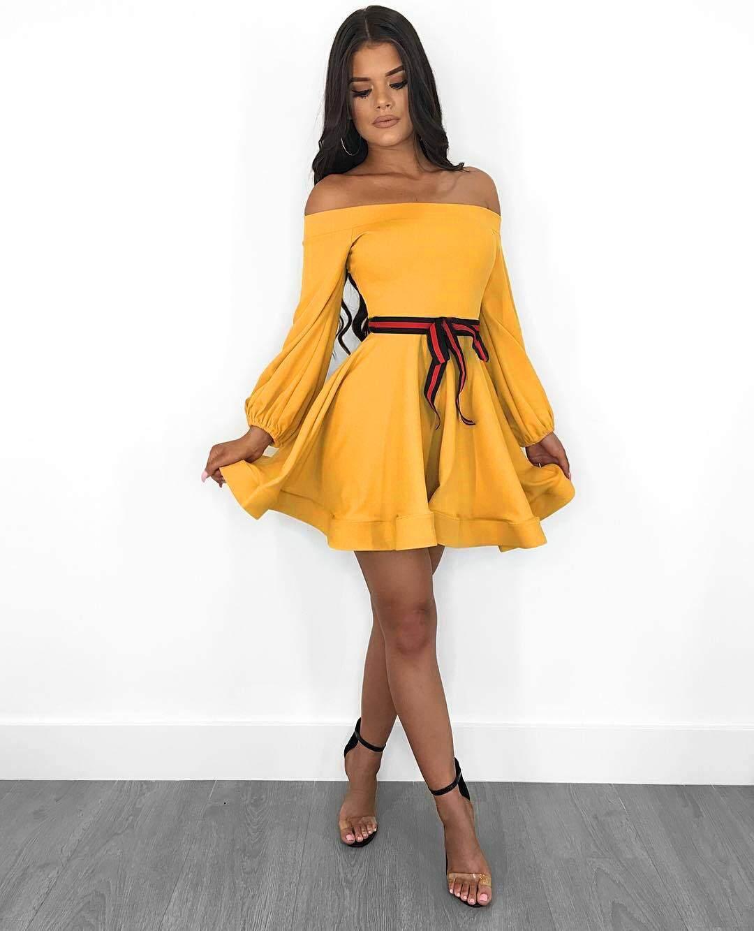8285995c8c75 China. European and American Hot Women's Dresses Sexy Word Neck Trim Waist  Dress