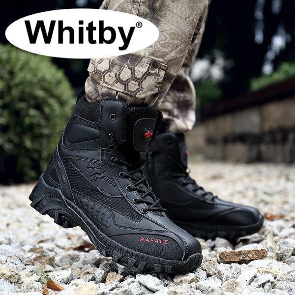 Whitby 2021 Mặc Chịu Chống Trơn Trượt Giày Da Nam Chống Nước Ngoài Trời Đi Bộ Giày