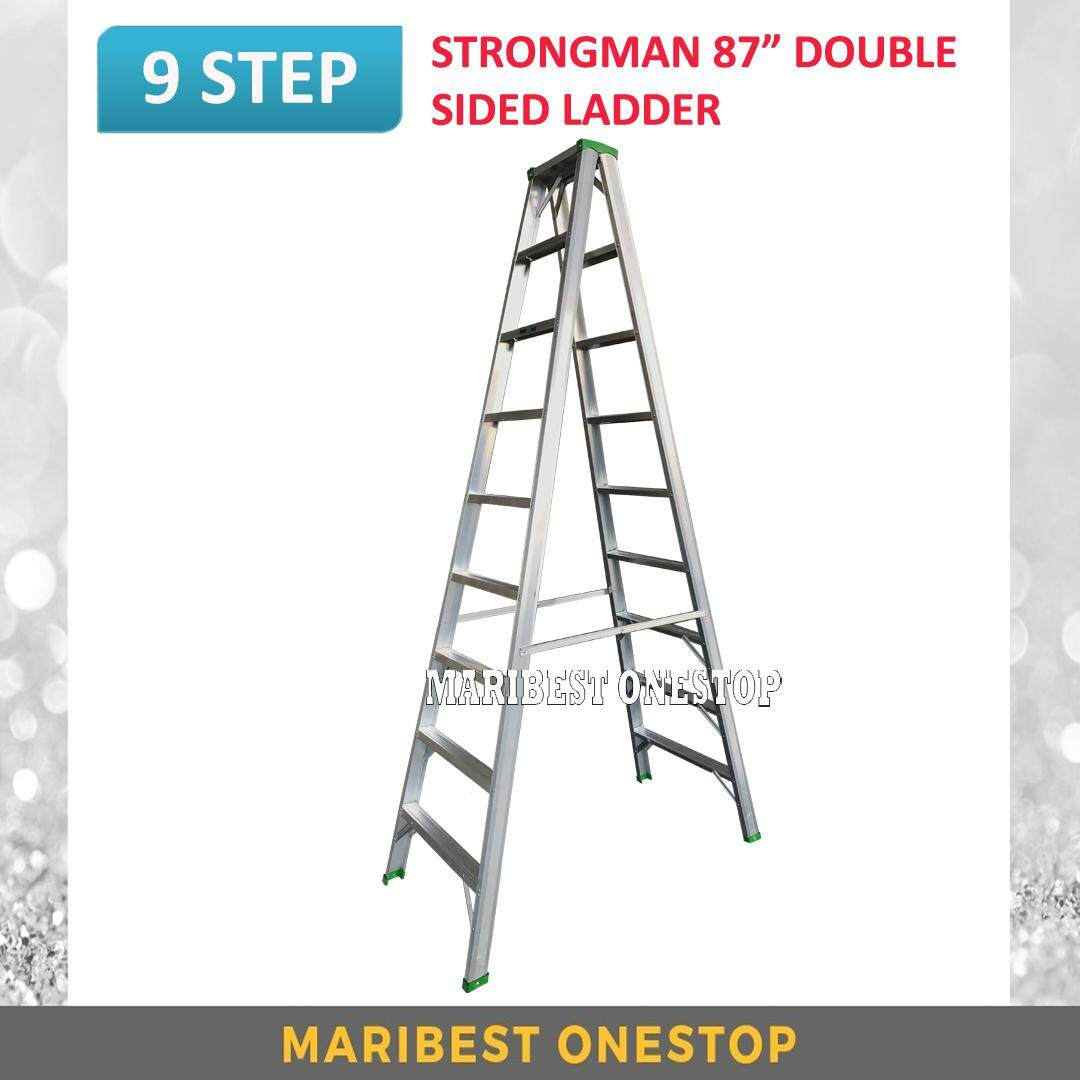 "STRONGMAN DS9 87"" Aluminium Double Sided 9 Steps Ladder"