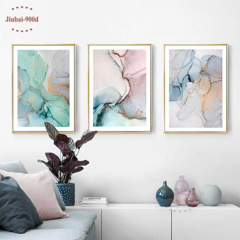 3Pcs 40X50cm Unframed Nordic Watercolor Irregular Abstract Combination Decorative Painting Colorful Canvas Painting Corridor Wall Decoration Posters and Prints SAN111