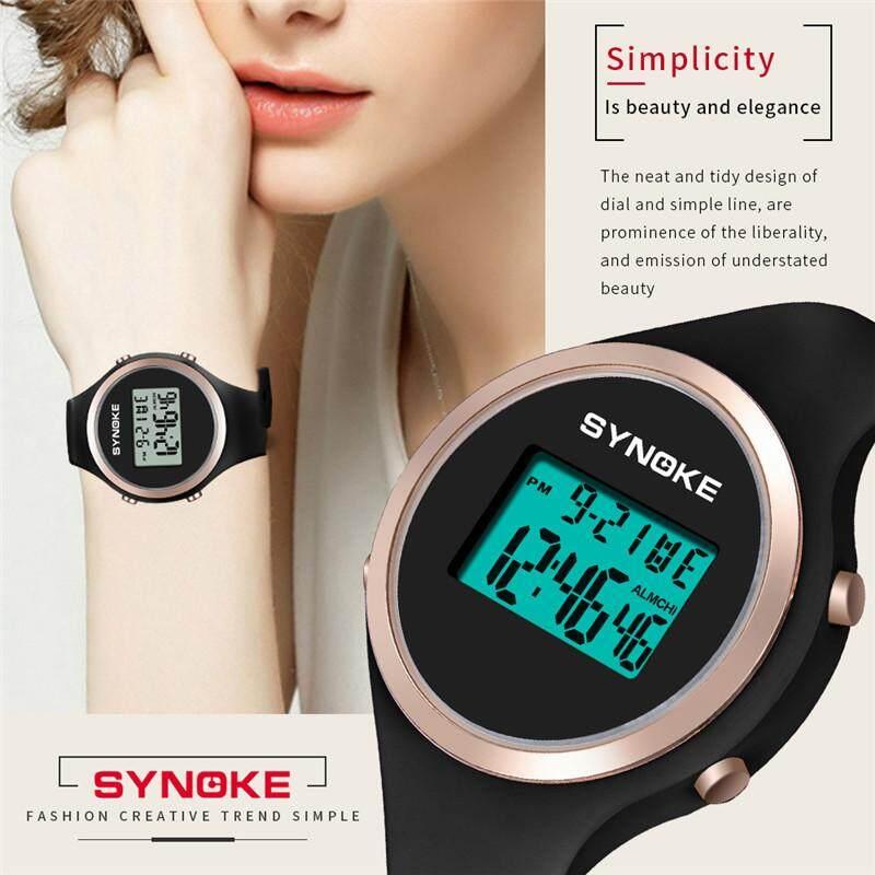 SYNOKE Women's Fashion Classic Digital Sports Waterproof Watches Women Household Chronograph Watch Multi-Function Time