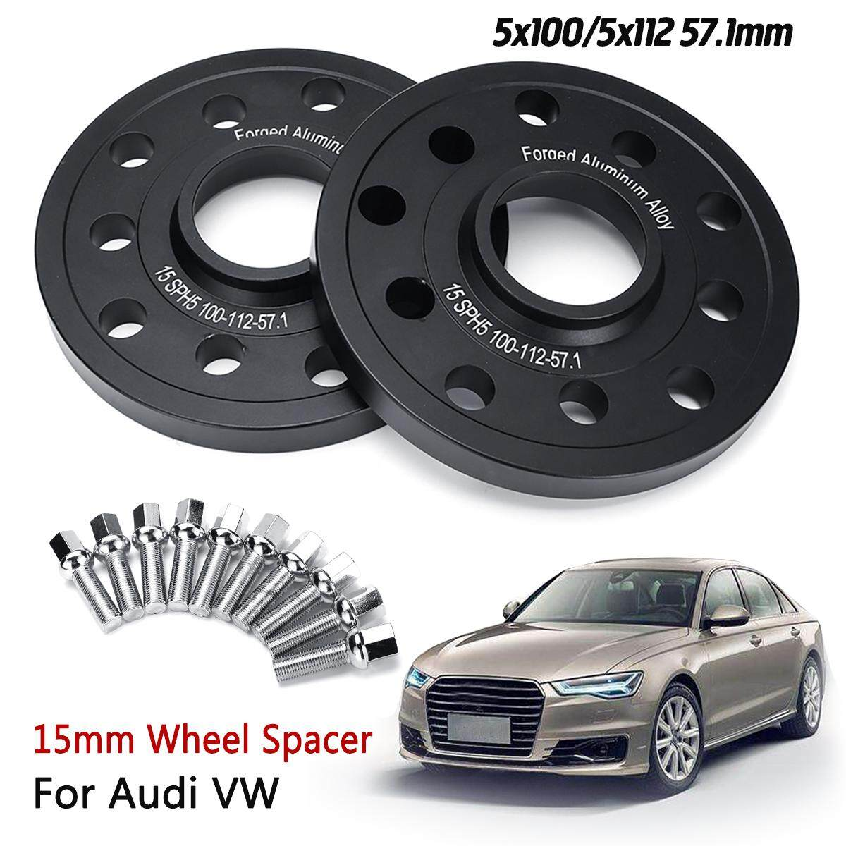Alloy Wheel Spacers 5x100/112 57.1 15mm + Extended Bolts For Vw Audi Seat Skoda 223165268377.
