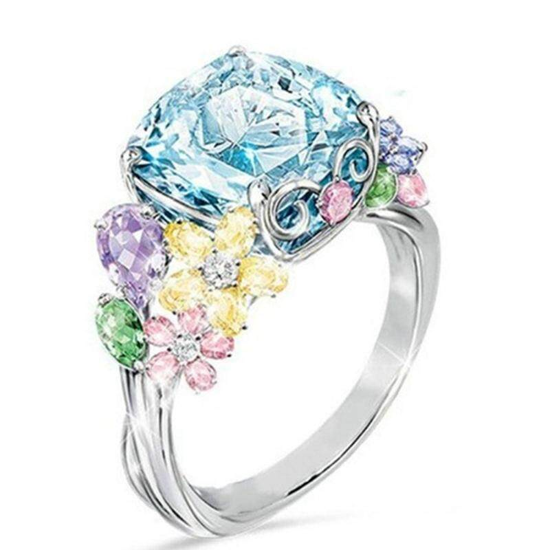 BBty Fashion New Style Best Selling Multi-colored Gemstone Square Ring Exquisite Jewelry Accessories